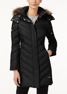 Kenneth Cole Petite Faux-Fur-Trim Chevron Down Puffer Coat