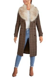 Kenneth Cole Plaid Double-Breasted Faux-Fur-Collar Walker Coat