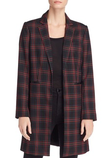 Kenneth Cole Plaid Longline Blazer
