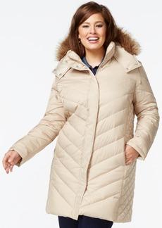 Kenneth Cole Plus Size Faux-Fur-Hood Puffer Down Coat