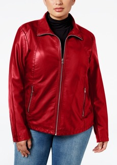 Kenneth Cole Plus Size Faux-Leather Bomber Jacket