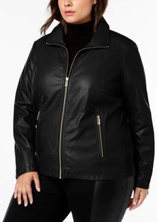 Kenneth Cole Plus Size Mixed-Media Moto Jacket