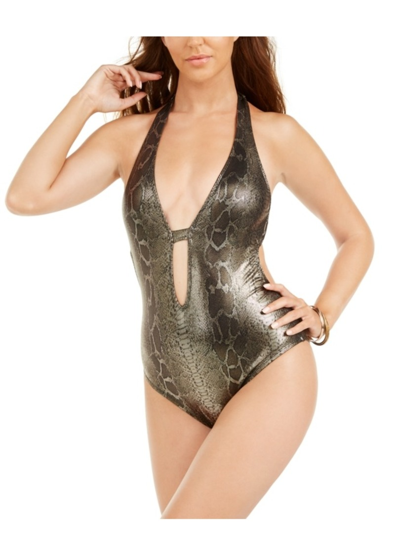 Kenneth Cole Precious Metals Cutout Halter-Neck One-Piece Swimsuit Women's Swimsuit