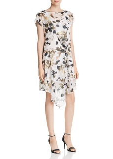 Kenneth Cole Printed Asymmetric Gathered-Front Dress