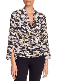 Kenneth Cole Printed Faux-Wrap Top