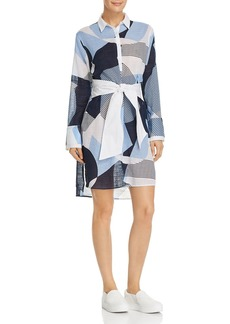 Kenneth Cole Printed Tie-Waist Shirt Dress