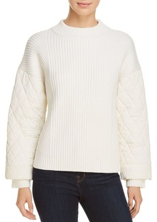 Kenneth Cole Quilted-Sleeve Rib-Knit Sweater