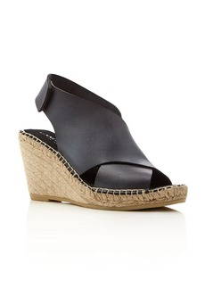 Kenneth Cole Quin Leather Espadrille Wedge Sandals