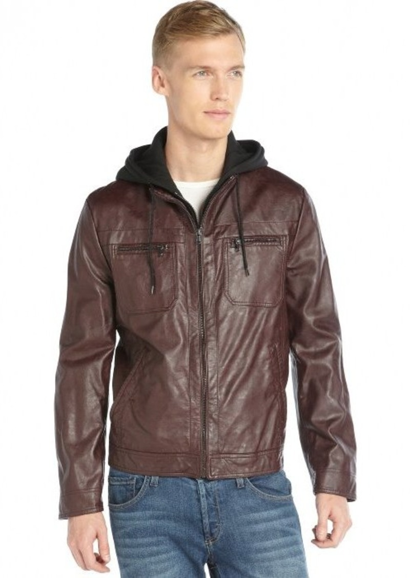 8e6ec4951 Kenneth Cole Kenneth Cole Reaction burgundy faux leather hooded zip ...
