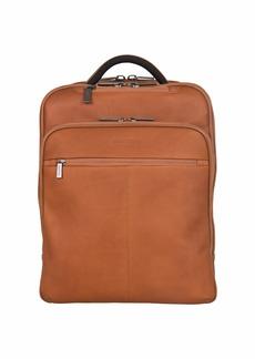 "Kenneth Cole Reaction Colombian Leather Double Compartment Ez-scan 16"" Laptop Business Backpack Cognac"