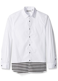 Kenneth Cole REACTION Men's Long Sleeve 1 Pocket Blocked Stripe