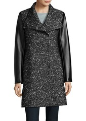 Kenneth Cole REACTION Faux-Leather Trimmed Tweed Jacket