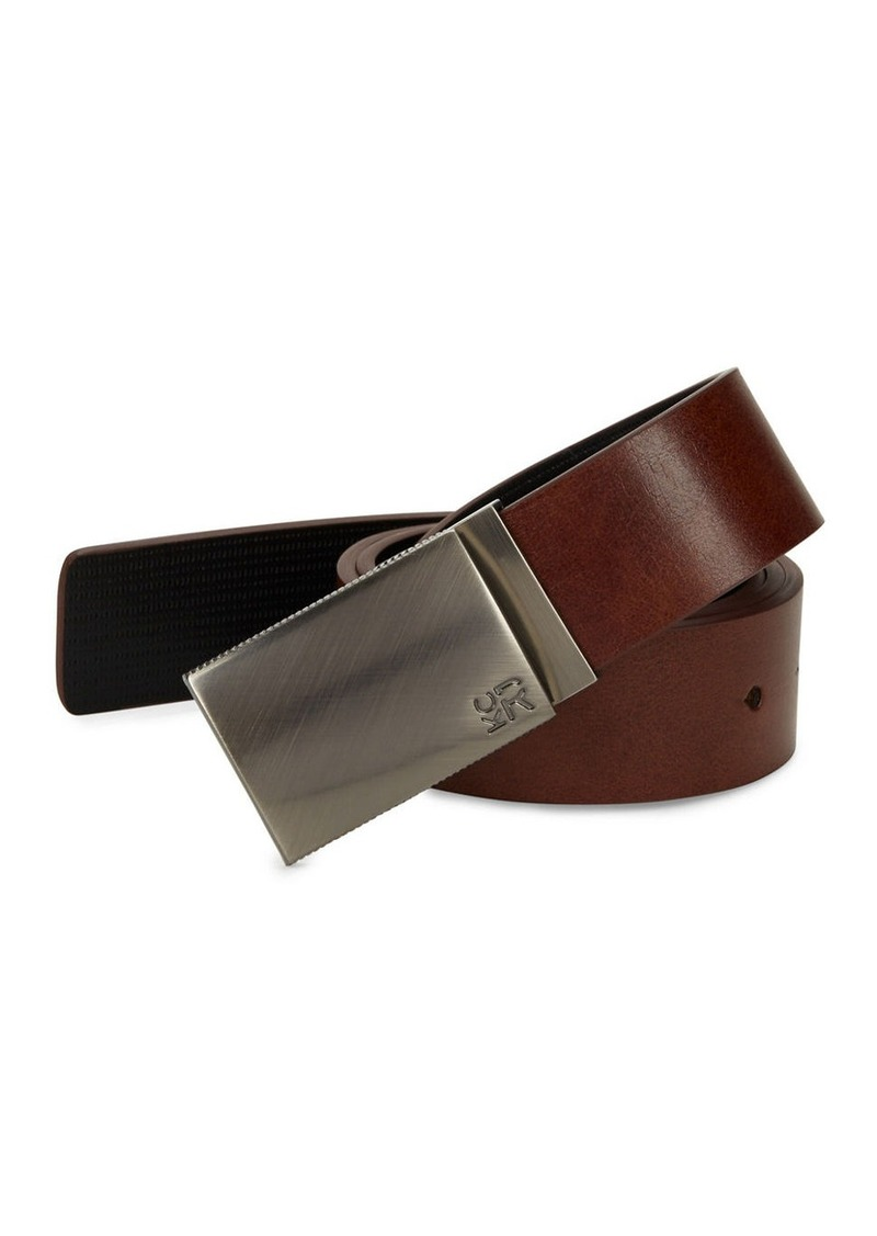 KENNETH COLE REACTION Gunmetal Buckle Leather Belt