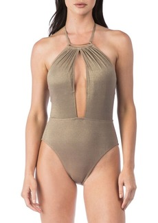 Kenneth Cole REACTION Lurex Solid One-Piece Plunge Mio Swimsuit