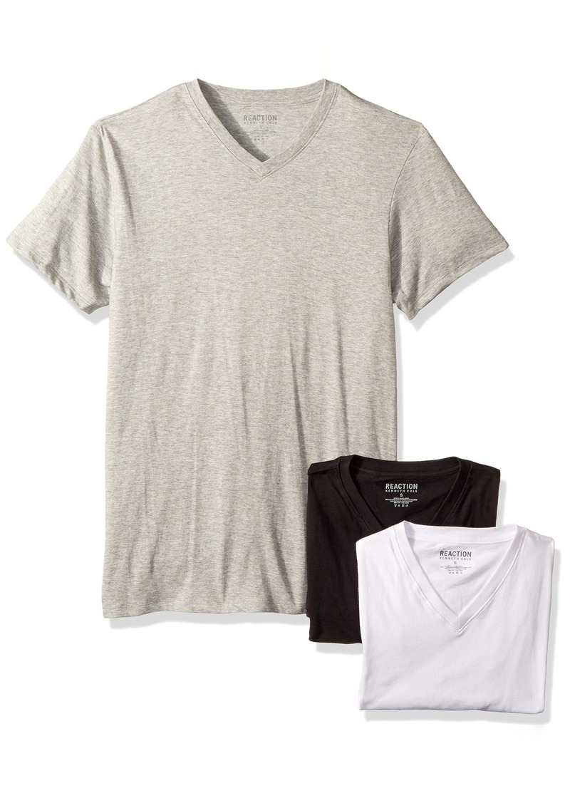 Kenneth Cole REACTION Men's 3 Pack Classic Fit V Neck Tee  S
