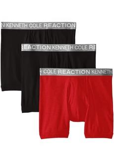 Kenneth Cole REACTION Men's 3-Pack Cotton Boxer Brief BLK/RED/BLK XL