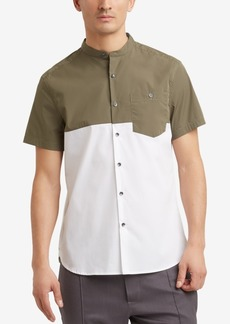 Kenneth Cole. Colorblocked Band-Collar Pocket Shirt