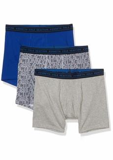 Kenneth Cole REACTION Men's Cotton Stretch Boxer Brief Underwear Multipack Navy/Navy Nolita Stripe/Light Heather Grey L