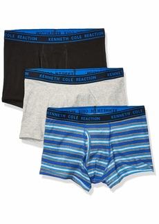 Kenneth Cole REACTION Men's Cotton Stretch Trunk Underwear Multipack Black/SURFB/gryht - 3 Pack