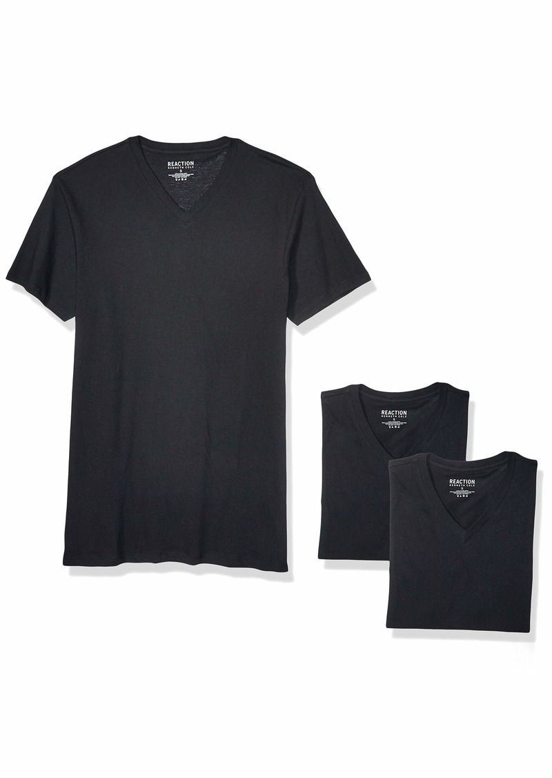 Kenneth Cole REACTION Men's Cotton Stretch V Neck T-Shirt 3 Pack  L
