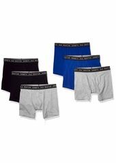 Kenneth Cole REACTION Men's Cotton Underwear 6 Pack Boxer Brief Value Pack 6 Pk-Black/Grey/Surf Blue S