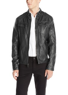 Kenneth Cole REACTION Men's Distressed Faux Leather Moto Jacket