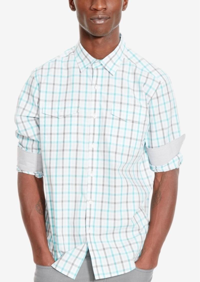 Kenneth Cole Reaction Men's Double-Pocket Grid-Pattern Long-Sleeve Shirt