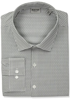 Kenneth Cole REACTION Men's Dress Shirt Technicole Slim Fit Check Green sea