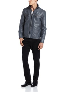 Kenneth Cole REACTION Men's Faux Leather Jacket with Knit