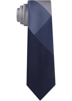 Kenneth Cole Reaction Men's Graphic Check Panel Skinny Tie