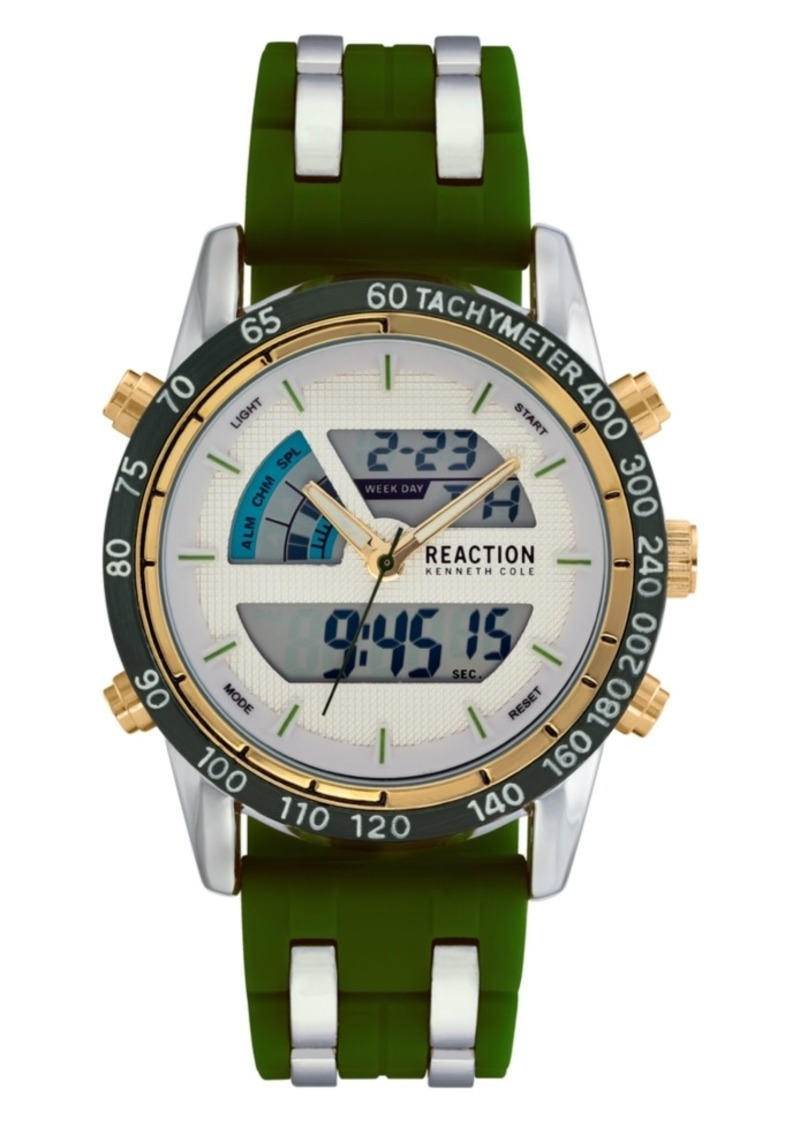 Kenneth Cole Reaction Men's Green Silicon Strap Analog-Digital Watch, 46mm