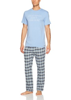 Kenneth Cole REACTION Men's Jersey and Brushed Flannel Gift Set top Heather Bottom: Mystic Blue Delancy Plaid S