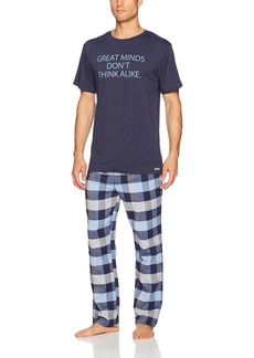 Kenneth Cole REACTION Men's Jersey and Brushed Flannel Gift Set top: Navy Heather Bottom: Hudson Blue Tribeca Plaid S