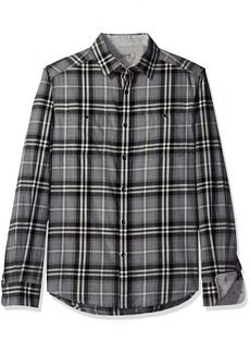 Kenneth Cole REACTION Men's Long Sleeve 2-Pocket Heather Plaid Grey Combo