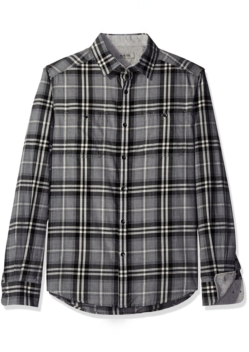Kenneth Cole REACTION Men's Long Sleeve 2-Pocket Heather Plaid Grey Combo