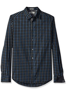 Kenneth Cole REACTION Men's Long Sleeve Button Down Collar Clean Plaid
