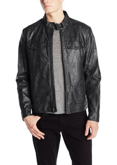 Kenneth Cole REACTION Men's Marble Faux Leather Moto Jacket