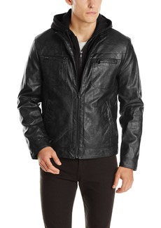 Kenneth Cole REACTION Men's Marble Faux Leather Moto Jacket with Hood  X-Large