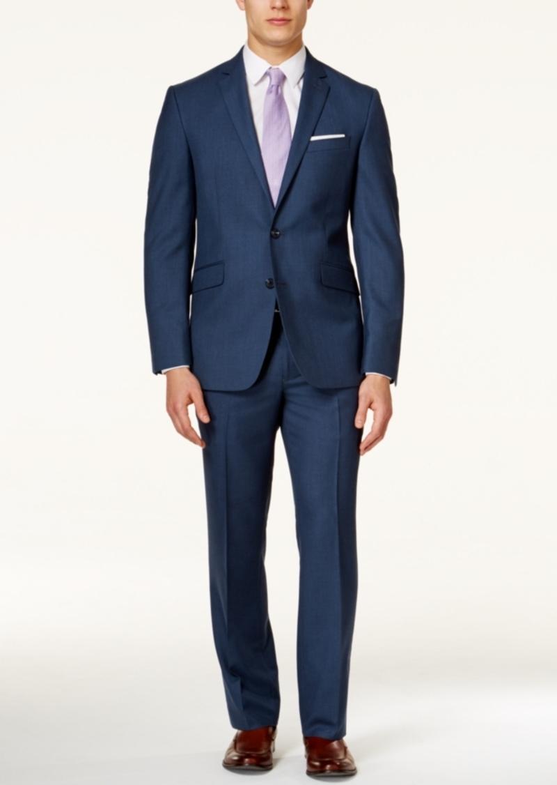 Kenneth Cole Reaction Men's Medium Blue Sharkskin Slim-Fit Suit