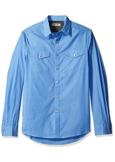 Kenneth Cole REACTION Men's ong Sleeve Military Chambray  arge