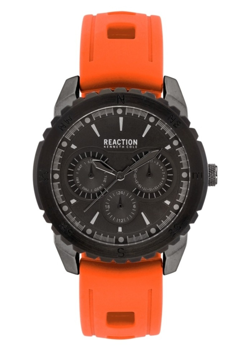 Kenneth Cole Reaction Men's Orange Silicon Strap Sport Watch, 45.5mm