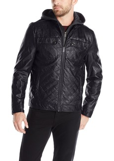 Kenneth Cole REACTION Men's Quilted Faux-Leather Moto Jacket with Hood
