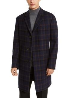 Kenneth Cole Reaction Men's Raburn Slim-Fit Navy Blue Windowpane Overcoat
