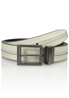 Kenneth Cole REACTION Men's Reversible Belt With Texture Center Inlay White/black