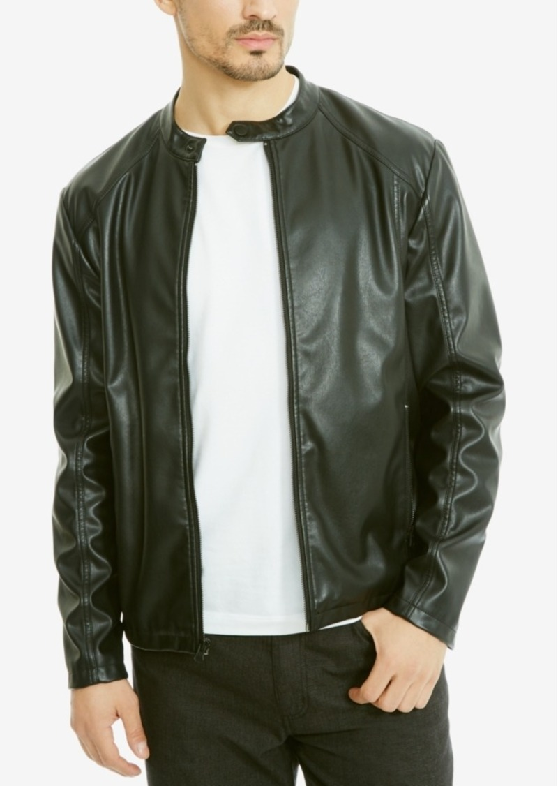 Kenneth Cole Kenneth Cole Reaction Men s Rocco Faux-Leather Bomber ... 8259f845d