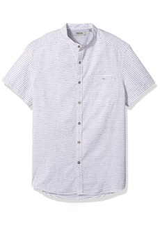 Kenneth Cole REACTION Men's Short Sleeve Band Collar NEP Stripe Shirt