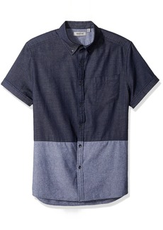Kenneth Cole Reaction Men's Short Sleeve Button Down Collar 1 Pocket Blocked