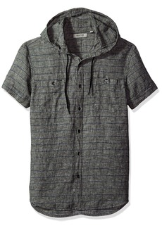Kenneth Cole REACTION en's Short Sleeve Hood Horizontal ulti Spripe Woven Shirt  edium