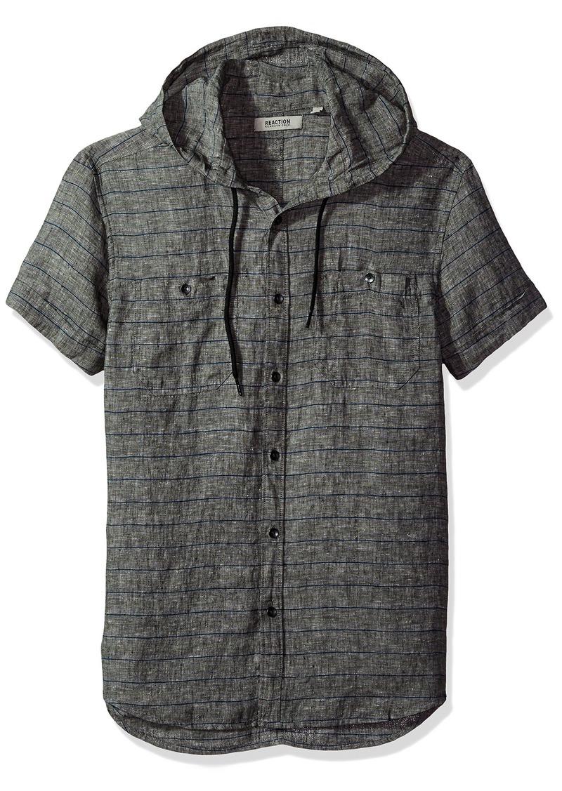 Kenneth Cole REACTION en's Short Sleeve Hood Horizontal ulti Spripe Woven Shirt  edium
