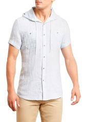 Kenneth Cole REACTION Men's Short Sleeve Hood Mini Stripe Woven Shirt